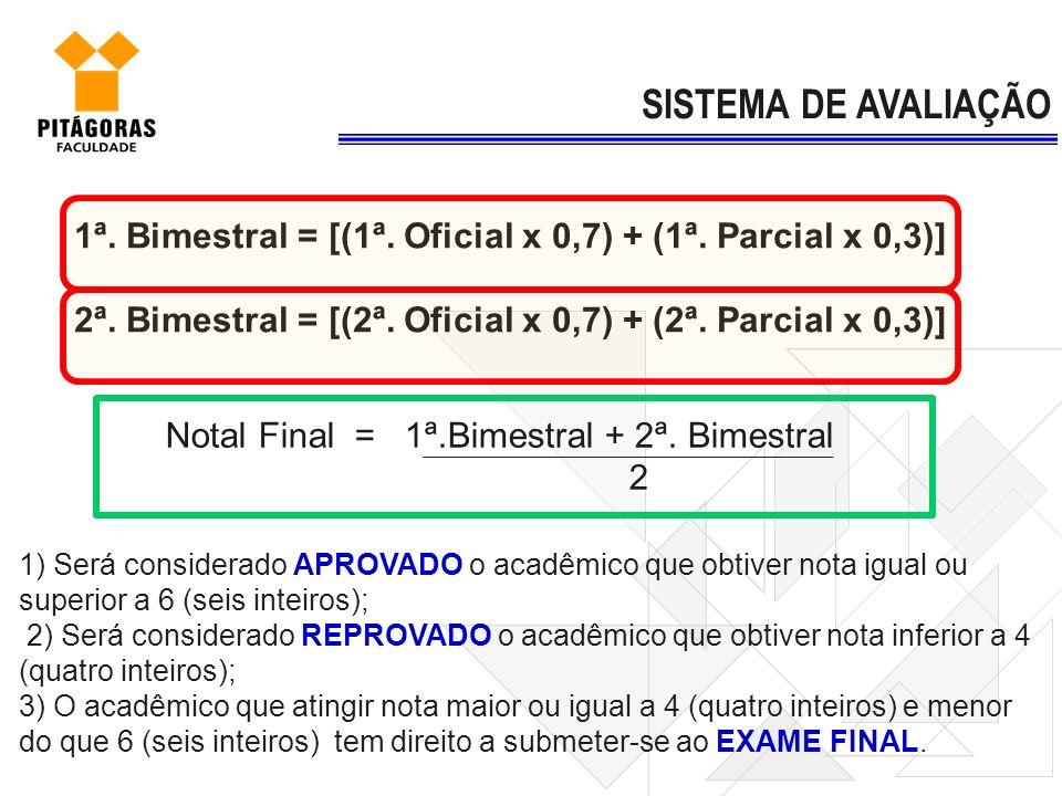 SISTEMA DE AVALIAÇÃO 1ª. Bimestral = [(1ª. Oficial x 0,7) + (1ª. Parcial x 0,3)] 2ª. Bimestral = [(2ª. Oficial x 0,7) + (2ª. Parcial x 0,3)]